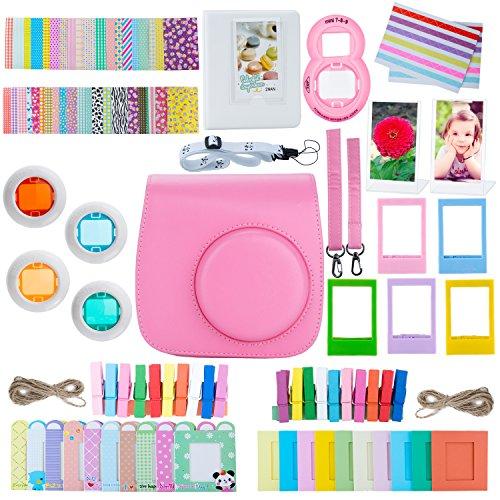 [Zubehör für Fujifilm Instax Mini 8 / Mini 9 Tasche] – ZWOOS 13 in 1 Kamerapaket beinhaltet Kameratasche/Album/Selfielinse/Farbige Filter/Wandfotorahmen/Filmrahmen/Rahmenaufkleber/Farbige Filter/Riemen(flamingo rosa)