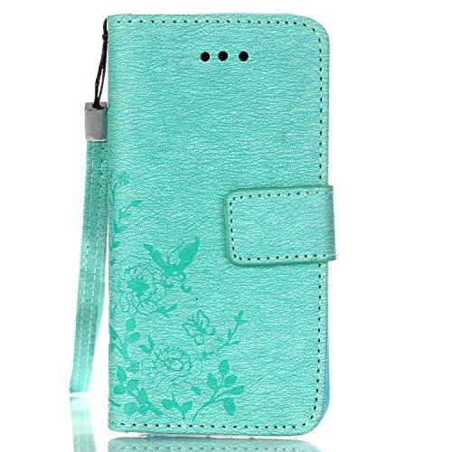 Cover iphone 5S, Cover iphone 5S, Alfort Cover Protettiva Premium PU di alta qualità Flip Case Cover per Apple iphone 5S 4.0 Smartphone Cover di Cuoio Flip Stand Ci sono funzioni di supporto e portaf Verde