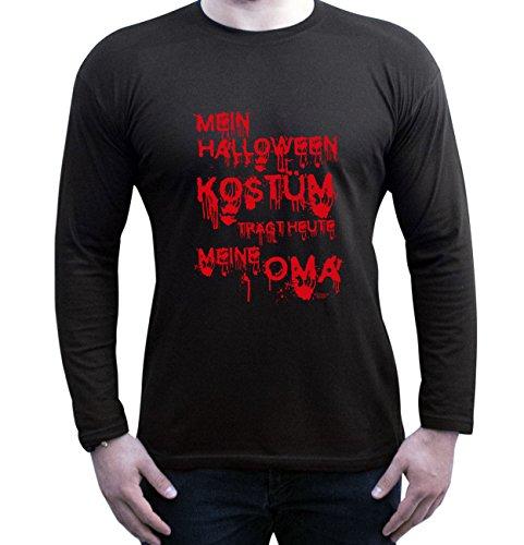 Extrem Cooles Herren Halloween-Langarm-Fun-Shirt als Geschenke-Idee Motiv: Mein Halloween Kostüm trägt heute meine Oma Farbe: schwarz Gr: XL