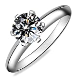 Meyiert 925 Sterling Silver Brilliant Zirconia Solitaire Eternity Promise Engagement Wedding Rings (M)
