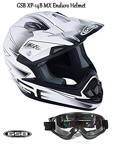 GSB xp-14b MX Moto Off Road adulte Casque de motocross de moto quad ATV Enduro sport ECE ACU application Casque Blanc/Argent + Moto x1 pour masque de ski Noir