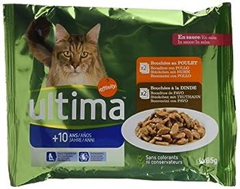 Ultima Multipack Nourriture pour Chat Senior 10+ Ans 4 x 85 g - Pack de 10