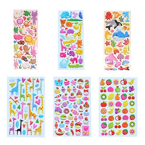 Healifty 6 stücke 3D Puffy Blase Aufkleber Cartoon Aufkleber Notebook Scrapbooking Label Dekoration