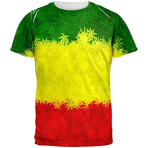 Rasta Pot Leaf ein Liebe-Tie-Dye aller Herren-T-Shirt Multi-2XL (Dye T-shirt Tie Rasta)