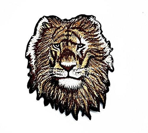 Afrika-patch (rabana Lion Head Zoo Safari Tiere Wildlife Afrika Cartoon Kids Kinder Cute Animal Patch für Heimwerker-Applikation Eisen auf Patch T Shirt Patch Sew Iron on gesticktes Badge Schild Kostüm)