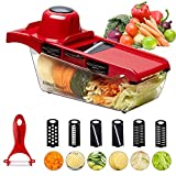 Vegetable Fruit Muti Function Chopper, Cooliker Mandolines Kitchen Cutter Grater Slicer 6 Interchangeable