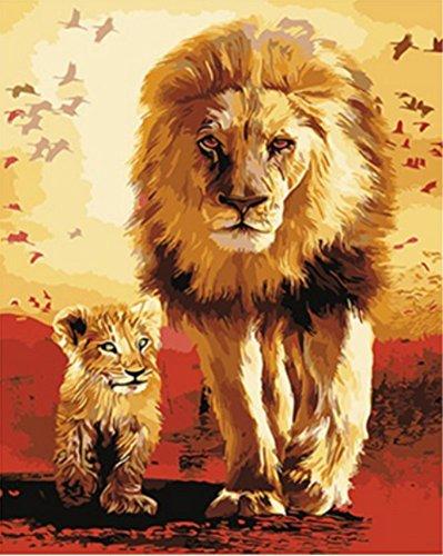 obella Malen nach Zahlen Kits || Löwe Vater und Sohn 50x 40cm || Malen nach Zahlen, DIGITAL Ölgemälde, (Cheetah Katze Kit)
