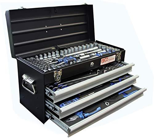 BGS 3318 , Metall-Werkzeugkoffer , mit 143 Werkzeugen , 3 Schubladen , mit Werkzeug gefüllt