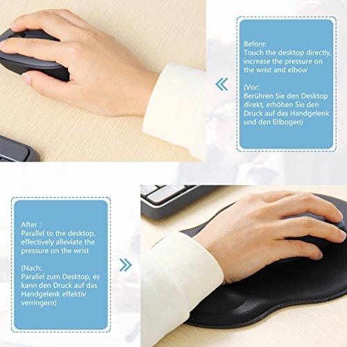 Mauspad und Tastatur Pad,LANMU Handgelenkauflage für Tastatur und Maus,Ergonomische Handauflage Auflage Matte Set für Gaming/Büro/Studium mit Reinigungsbürste - 4