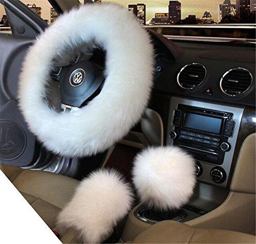 3Winter Frauen Auto Lenkrad Bezug Charm Warm Lange Wolle Plüsch Auto Handbremshebel Gear Shift Cover Set 38cm