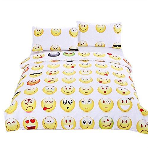 sleepwish Emoji-Betten Set CUTE und Fashion Bettbezug Set für Young Bedruckte Bettwäsche 3Twin Full Queen King cal-king Größe, baumwolle, King Size - Cal-king-size-bett Bettwäsche