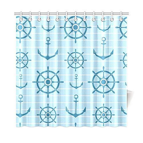 Presock Home Decor Bath Curtain Anchors Ships Steering Polyester Fabric Waterproof Duschvorhang for Bathroom, 72 X 72 Inch Duschvorhangs Hooks Included (Duschvorhang Tmnt)