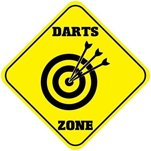 WSMsign Darts Zone Crossing Crossing Sign Neuheit Gelb Diamant Metall Schilder Wandschild 30,5 x 30,5 cm für Haus -