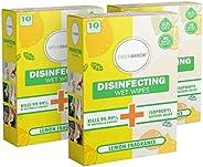 Greenbrrew Hand Sanitizing Disinfectant Wet Wipes Kills 99.9% Germs, Bacteria & Viruses (Lemon, Pack Of 3