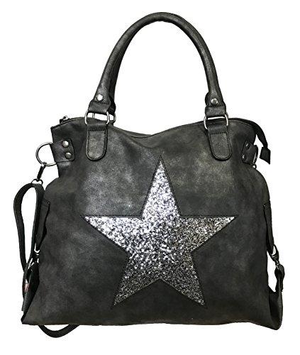 STERN Glitzer Damen Tasche Star Fashion Shopper Henkeltasche Glanz Style