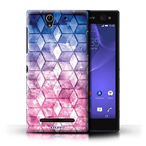 Kobalt® Imprimé Etui / Coque pour Sony Xperia C3 / Jaun/Bleu conception / Série Cubes colorés Bleu/rose