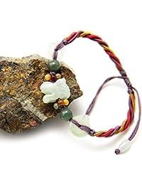 """jba16026–AGATHE Creation–Pulsera de jade Tallada) tigre. Piedras de jade naturales–categoría """"A""""–Puerta felicidad–Talla ajustable–entierement hecho a mano"""