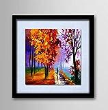 AYANGZ 100% Hand gezeichnetes Ölgemälde - Abstrakter glücklicher Baum-Wand-Kunst-Rahmen in der Segeltuch-Abstrakten Ausdehnung und Rahmen-Segeltuch-Malerei bereit, Rahmenlos zu hängen,23 * 23inch