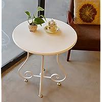 Comparador de precios CLOTHES- Sala de Estar de Hierro Redondo Simple Sofá de Lado Estantes de Mesa de café pequeño Estante de Flores Estante de balcón (Color : Blanco) - precios baratos
