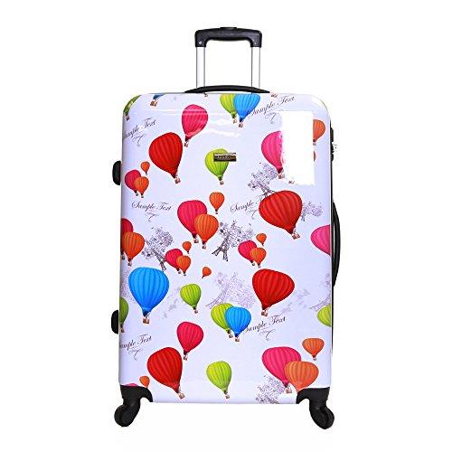 Karabar trolley bagaglio da stiva dura valigia rigida leggera grande xl 76 cm 4,5 kg 100 litri con rotelle pivotanti e lucchetto integrato, dewberry bianca