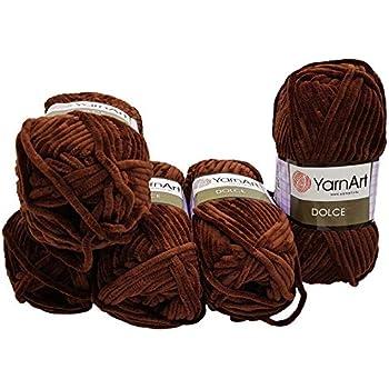 YarnArt Velour 5 x 100 Gramm Strickwolle Bordeaux 847 samt 500 Gramm Wolle Babywolle