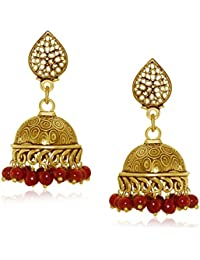 Spargz Party Wear Gold Plating Maroon Beads Jhumki Earrings For Women AIER 653