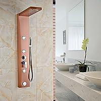 tougmoo Oro Rosa Rettangolo pannello doccia con doccetta rubinetto miscelatore a cascata vasca da bagno gru Multi