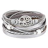 StarAppeal Wickelarmband mit Perlen, Ketten, Flechtelement und Lebensbaum Anhänger, Magnetverschluss Silber, Damen Armband (Hellgrau-Silber)