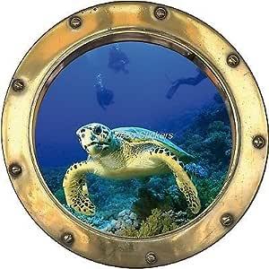 Sticker trompe l/'oeil deco turtle diver ref porthole h343