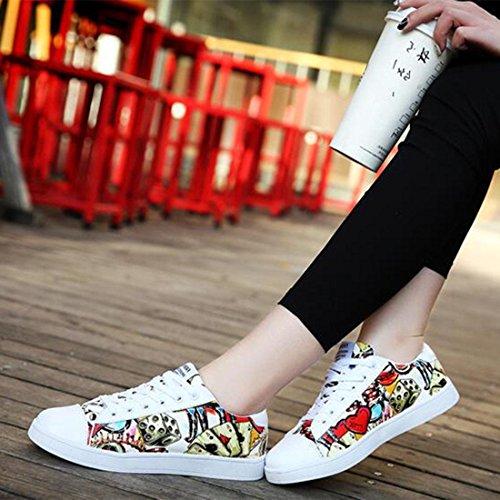 Primavera ed estate traspirante stampato scarpe casual scarpe da uomo moda paio di scarpe paio white red