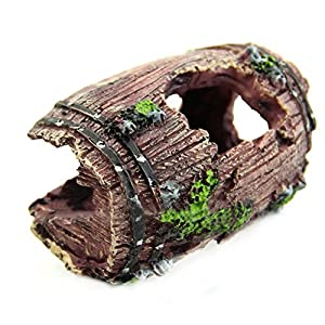EDTara Aquarium Fish Tank Artificial Resin Barrel Caves Ornament Furnishing Landscaping Decoration AS Shown