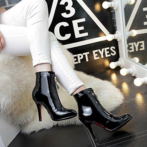 Boots Ankle Agulha Vós Mulheres Salto Com Apontou Elegantes Zipper Pintura Boots Ankle De De Pretos Centímetros Alto 10 Sapatos Salto Azxvxf0qw