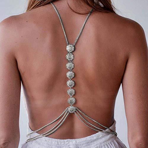 Jovono retro mode einfach geschnitzte blume körper kette halskette bikini kabelbaum körperschmuck kette damen und mädchen (silber)