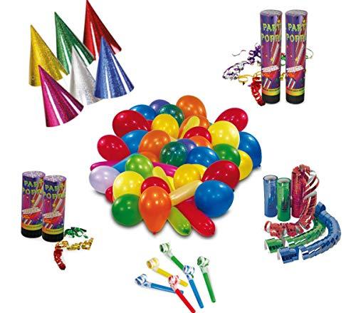 KarnevalsTeufel Party - Set, Dekoration   Hüte, Luftschlangen, Tröten, Konfetti-Kanone, Luftballons   Karneval, Geburtstag, Mottoparty