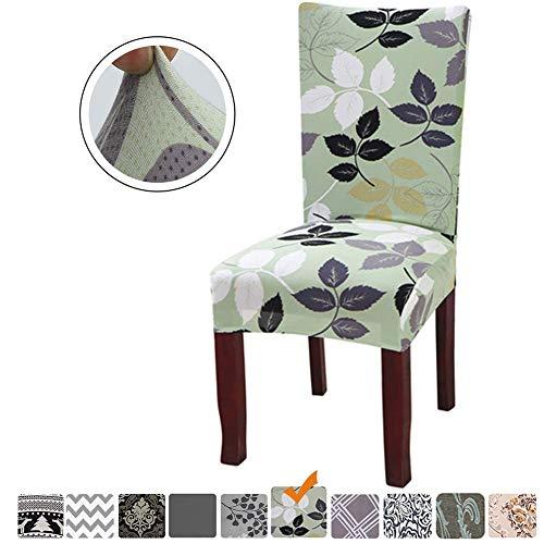Fuloon Stuhlhussen 4er 6er Set Stuhlbezug Stretch Esszimmer Sitz Stuhl Abdeckungen für Haus (4 Stück Blätter)