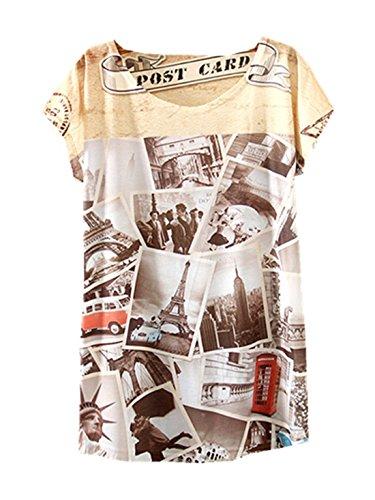 YICHUN donne camicetta maglietta sottile tops abbigliamento casual tunica tee stampa Photos 10#