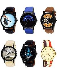 NIKOLA Contemporary 3D Design Mahadev Smokey Black Blue And Brown Color 6 Watch Combo (B22-B47-B13-B20-B23-B50...