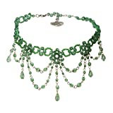Alpenflüstern Trachten-Perlen-Kropfkette Elise - Trachtenkette Damen-Trachtenschmuck Dirndlkette grün DHK089