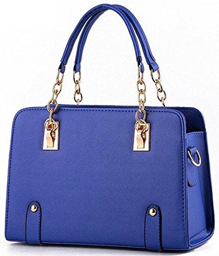 Yisidoo Catena Da Donna Borsa Tote Bag Colori Caramelle Borse Messenger Borse In Pelle (azzurro) Blu Scuro