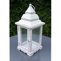 Splendido Bianco Lanterna in legno con tetto a cupola 40cm. 10080