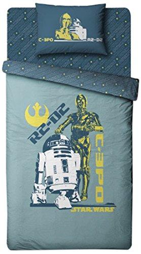 Star Wars de Disney 2070041 Housse de Couette 140 x 200 x 40 cm + Taie d'Oreiller 63 x 63 cm Coton Vert d'Eau/Bleu Marine