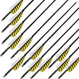 MEJOSER 30 Zoll Bogenpfeile Carbon Pfeile für Bogenschießen mit Naturfeder Jagdpfeile für Bogen Recurvebogen Compoundbogen und Traditionellen Bogen