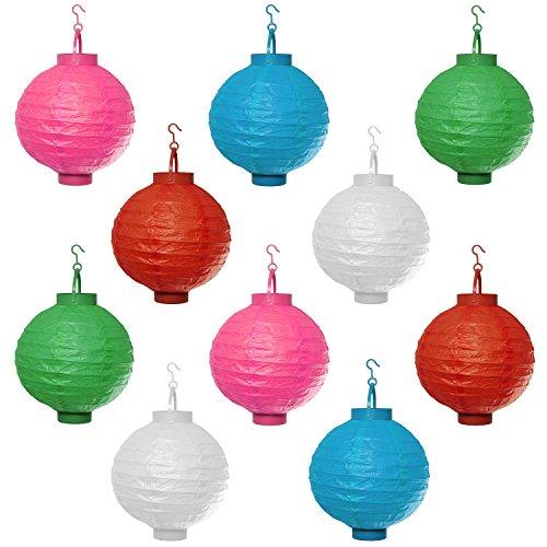 10er Set LED Papierlaterne Papier Lampion Lampions Laterne Batterie Garten Papierlampion Kabellos Batteriebetrieben Rosa Blau Rot Grün Weiß