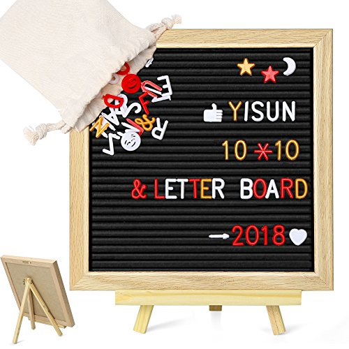 """YISUN Wooden Letter Board Sign with 680 Letters / Numbers / Symbols, 10""""x10"""" Small Changeable Felt Notice Letter Formation Board White Plastic Changeable Characters - Oak Wood Frame / Wall Mount /With Free Canvas Bag"""