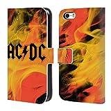 Head Case Designs Ufficiale AC/DC ACDC Fiamme Logo Cover a portafoglio in pelle per Apple iPhone 5/5s/SE