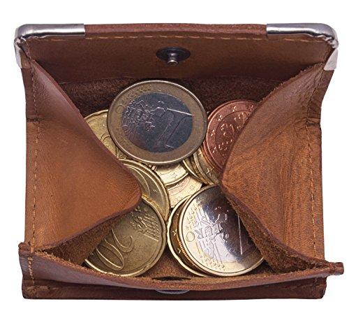 Hill Burry Echt-Leder Wiener-Schachtel | Geldbörse mit Kleingeldschütte - Slim Wallet - Münzbörse | Leder Minigeldbörse - Portmonee Münzen (Braun)