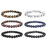 Souarts Set 6pcs Unisexe Bracelet Couple Yoga Accessoire Pierre d'Énergie Elastique...