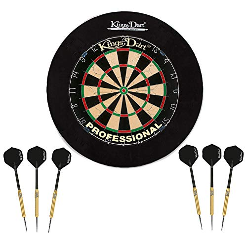 Kings Dart Dart Komplettset Profi | Dart-Set: Sisal-Dartscheibe für Steeldart u. Softdart, 6X Steel-Dartpfeile, Dart-Surround Auffangring | Soft- u. Steeldart | Markenqualität