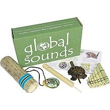 Juego de iniciación de instrumentos multiculturales, incluye 5 instrumentos, rana de madera, ocarina, reclamo de pájaro, flauta de pan y palo de lluvia