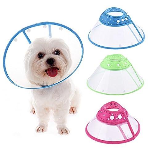 Pet collier de cône pour chiens et chats avec fermeture en plastique bord souple et respirant